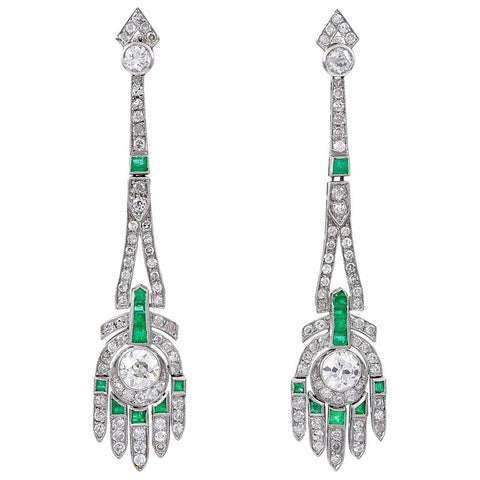 Pair of Art Deco Emerald, Diamond and Platinum Earrings