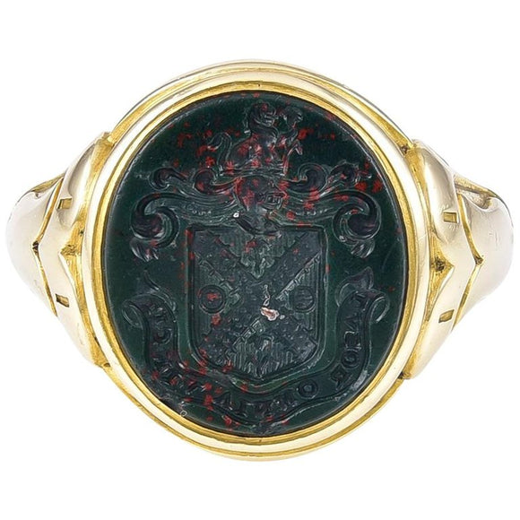 Victorian Bloodstone Intaglio and Gold Ring