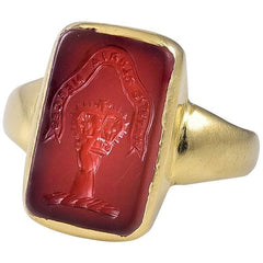Small Edwardian 18 Karat Gold and Carnelian Intaglio Ring