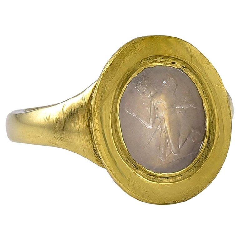 Ancient Roman White Agate Intaglio in a Later Gold Ring Mount