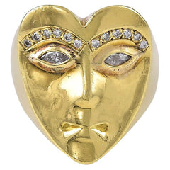 18 Karat Gold and Diamond Heart Shaped Face Ring by David Stern