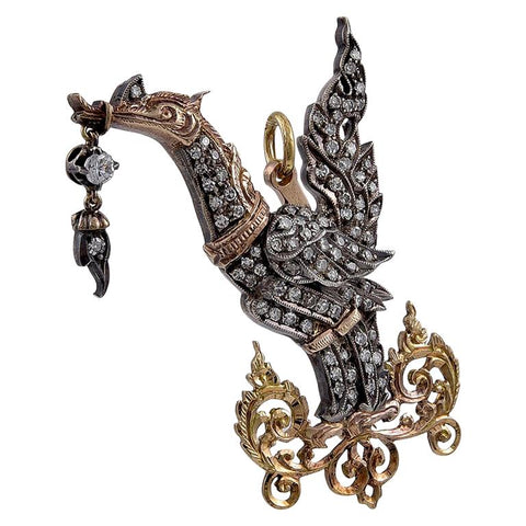 Thai Gold and Diamond Set Celestial Swan Pendant Brooch