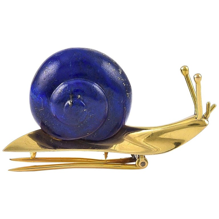 Stylish Lapis Lazuli and 18 Karat Gold Snail Brooch by Hermes, Paris