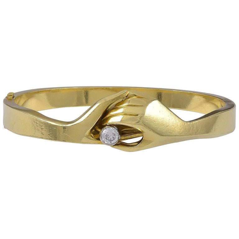 Unusual 18 Karat Gold and Diamond Bangle by Puig Doria of Barcelona