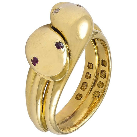 An Antique Victorian 18 Karat Gold double headed Snake Ring, Ruby & Diamond Eyes