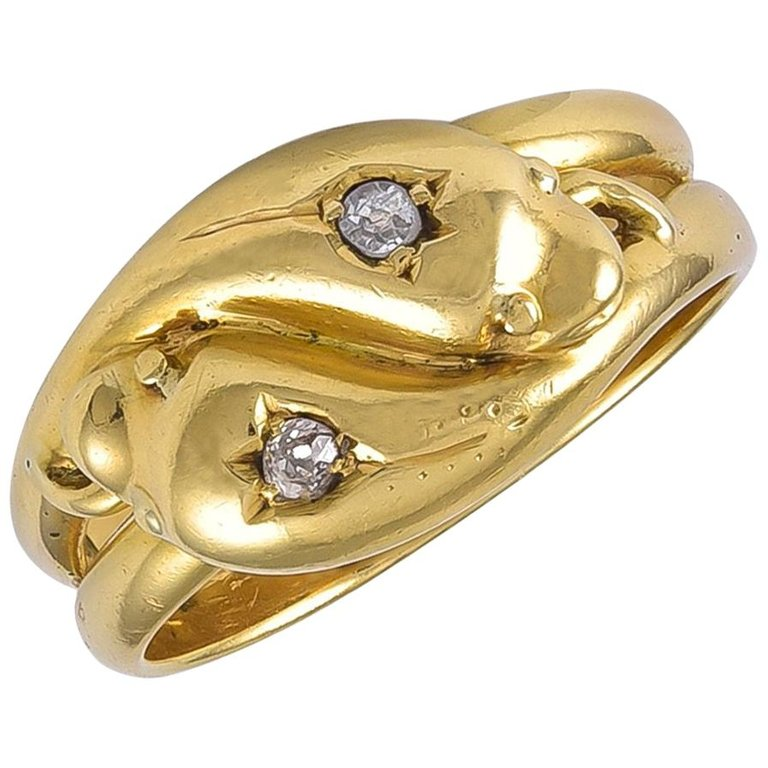 Antique Edwardian 18 Karat Gold Double Head Snake Ring