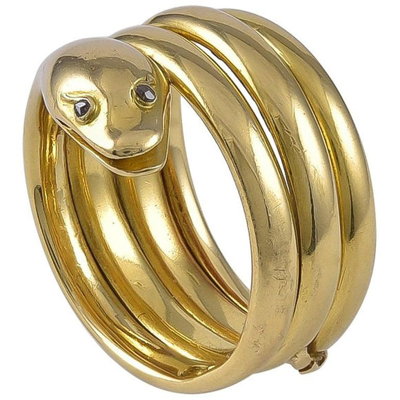 Antique Victorian 18 Karat Gold Snake Ring