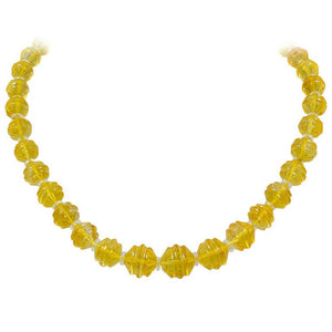 A thirty seven stone Carved Citrine Bead  Necklace by Buccellati