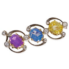 Three Color Sapphire Brooch