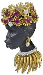 A striking Gem Encrusted Nubian Princess Brooch