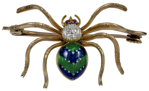 A Diamond, Gold, Ruby and Enamel Spider Brooch