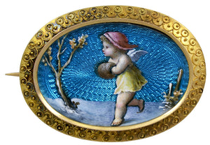 A pretty 19th century Limoge Enamel & Gold Brooch of oval shape