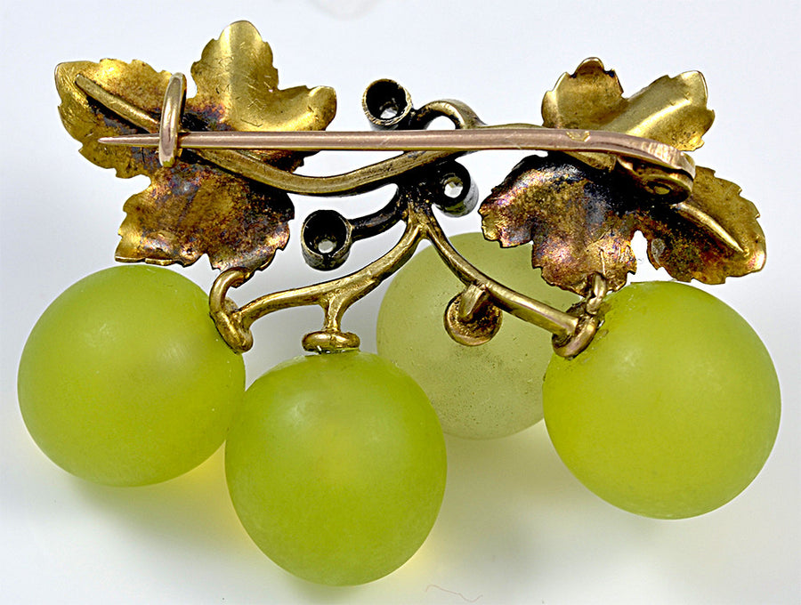 A luscious French Opaline Grape, Gold and Diamond Brooch