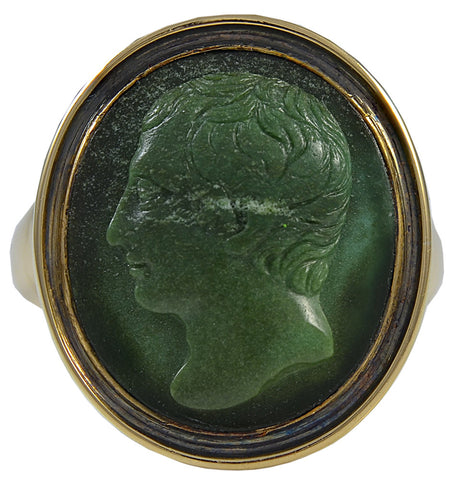 an historically interesting Cameo Ring, carved in Green Turquoise