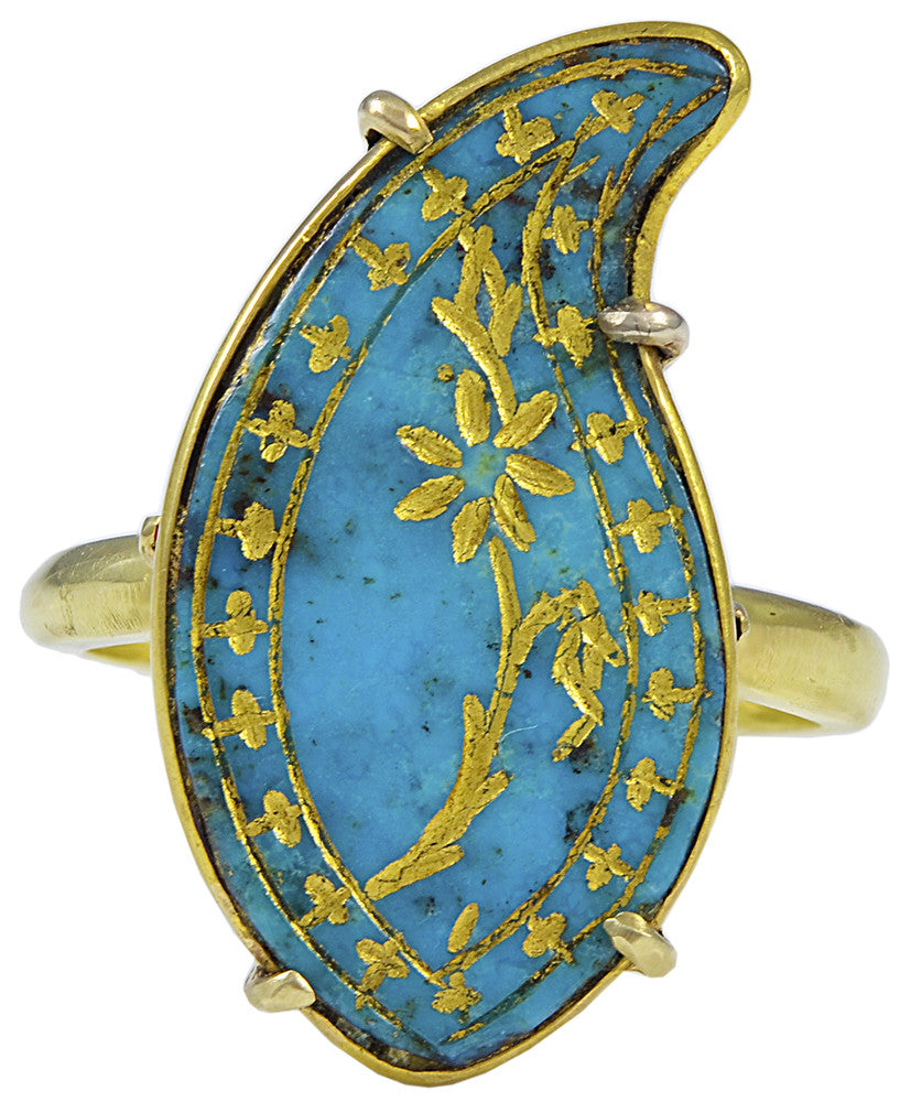 An Antique Persian Turquoise Boteh later mounted as a Ring