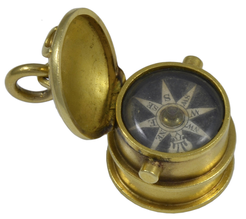 A Victorian Gold Compass Fob Seal in the form of a Ships Capstan