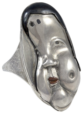 A 19th century Japanese Silver and Laquer Ring