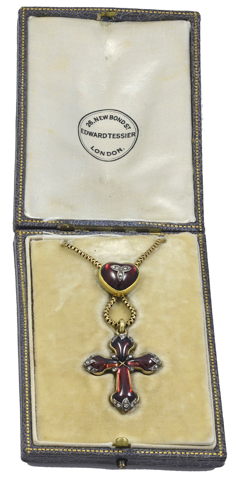 A Victorian Cabochon Garnet & Rose Diamond Pendant Cross