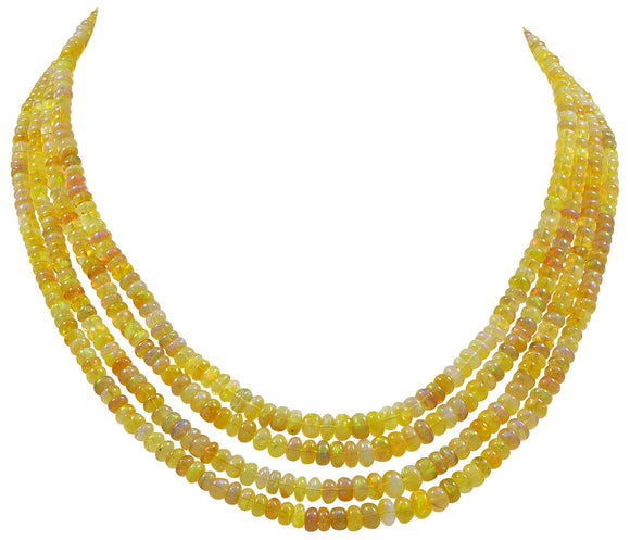 A four row Golden Opal Necklace on an Engraved Gold Clasp
