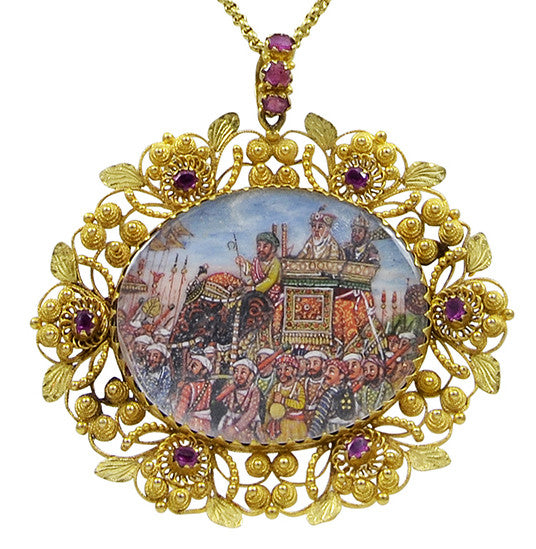 A finely made 19th century Indian Gold & Ruby Pendant
