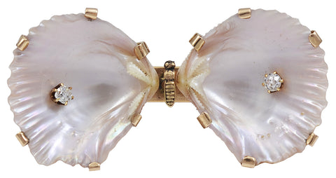 A Double Shell Brooch in the form of a Butterfly