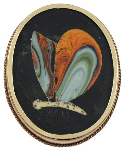 A late 19th century Pietra Dura Brooch of unusual design.
