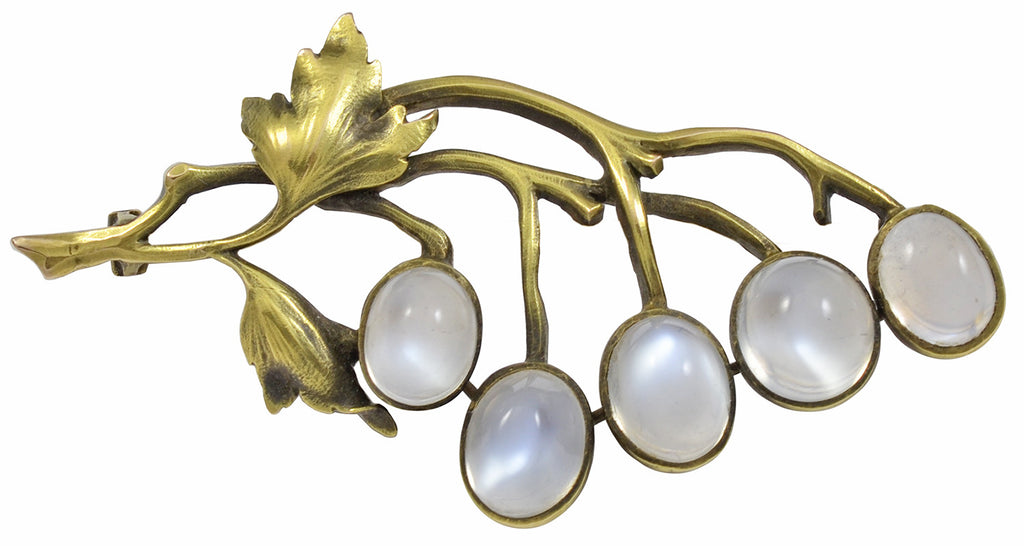 A Gold & Moonstone Brooch in the Art Nouveau taste