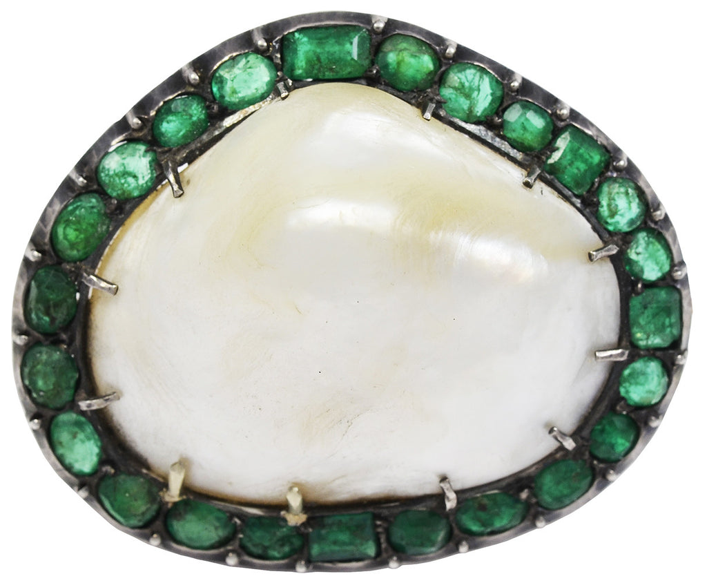 An Antique Natural Baroque Pearl & Emerald Brooch