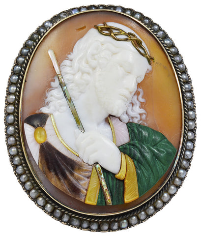 A late 19th century Carved Cameo Brooch of Jesus Christ