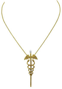 An Antique Gold Diamond & Pearl Caduceus Pendant