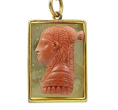 A 19th century Carved Stone Cameo of an Ancient Egyptian Princess