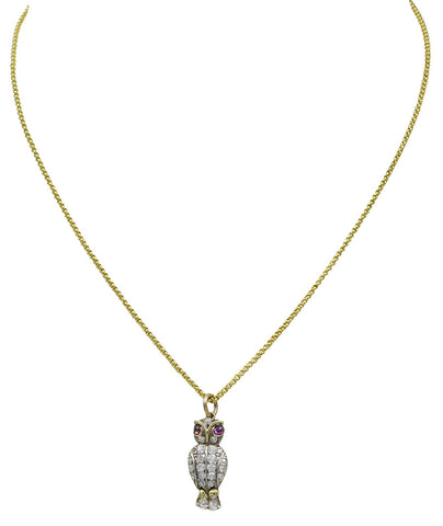 A small Diamond Set Owl Pendant