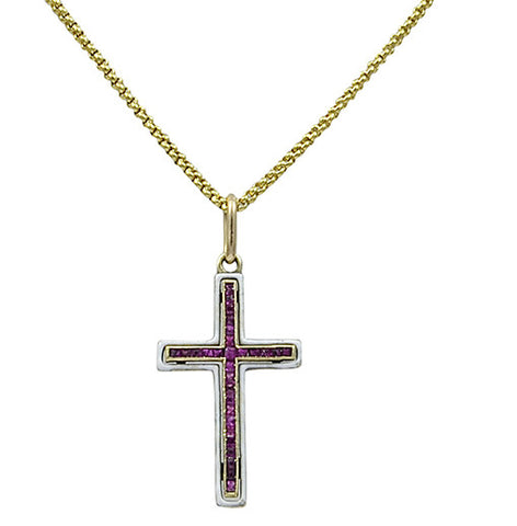 A small Edwardian period Gold & Calibre Ruby & White Enamel Cross