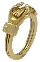 An early Victorian 18kt Gold Clasped Hands Betrothal Ring