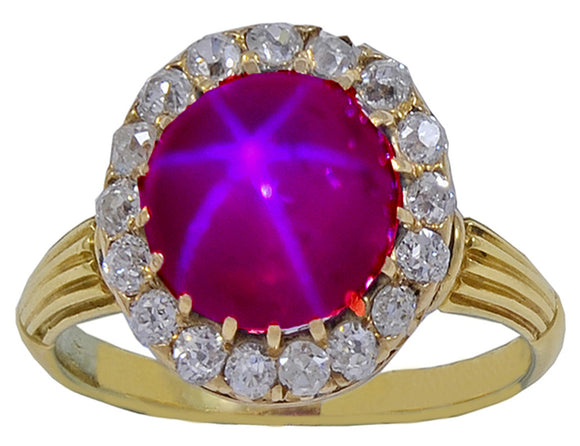 A beautiful late Victorian Natural Star Ruby & Diamond Ring