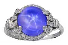An Art Deco Lavender hued Natural Star Sapphire & Diamond Ring