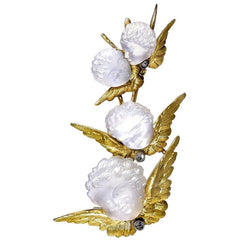Carved Moonstone and Rose Diamond Cupid Brooch