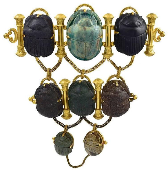 Dramatic Antique Gold and Scarab Mounted Brooch