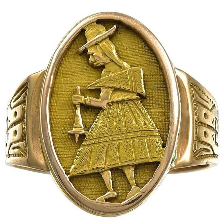 Antique South American Gold Locket Ring