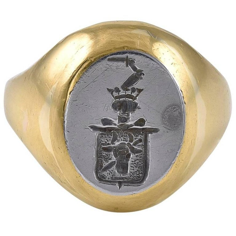 Antique Gold and Steel Intaglio Signet Ring