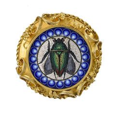 19th Century Micro Mosaic and Gold Brooch