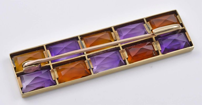 Rectangular Gold, Amethyst and Citrine Brooch