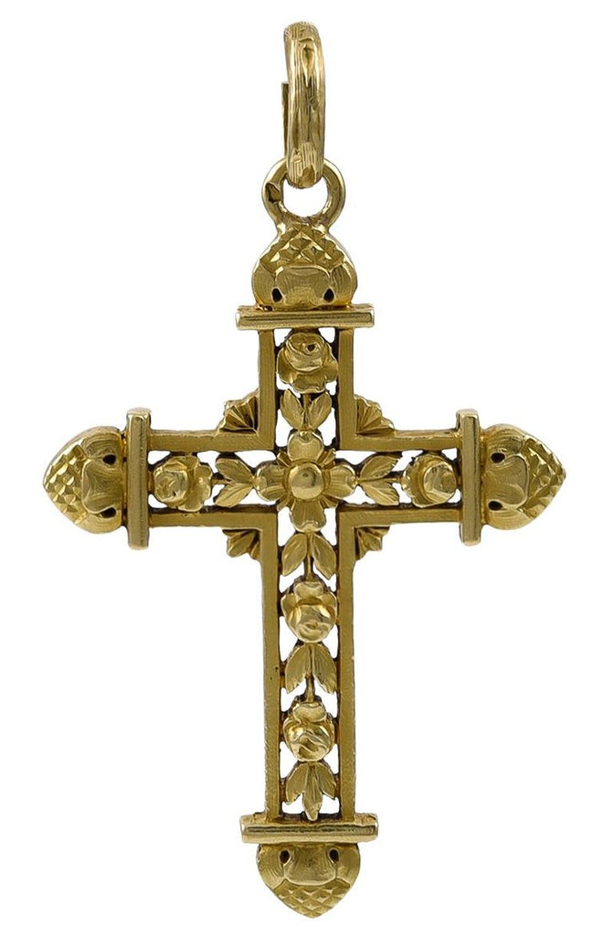 A beautifully constructed Antique French Gold Cross