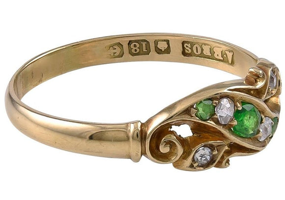 Edwardian Grass Green Garnet and Diamond Ring