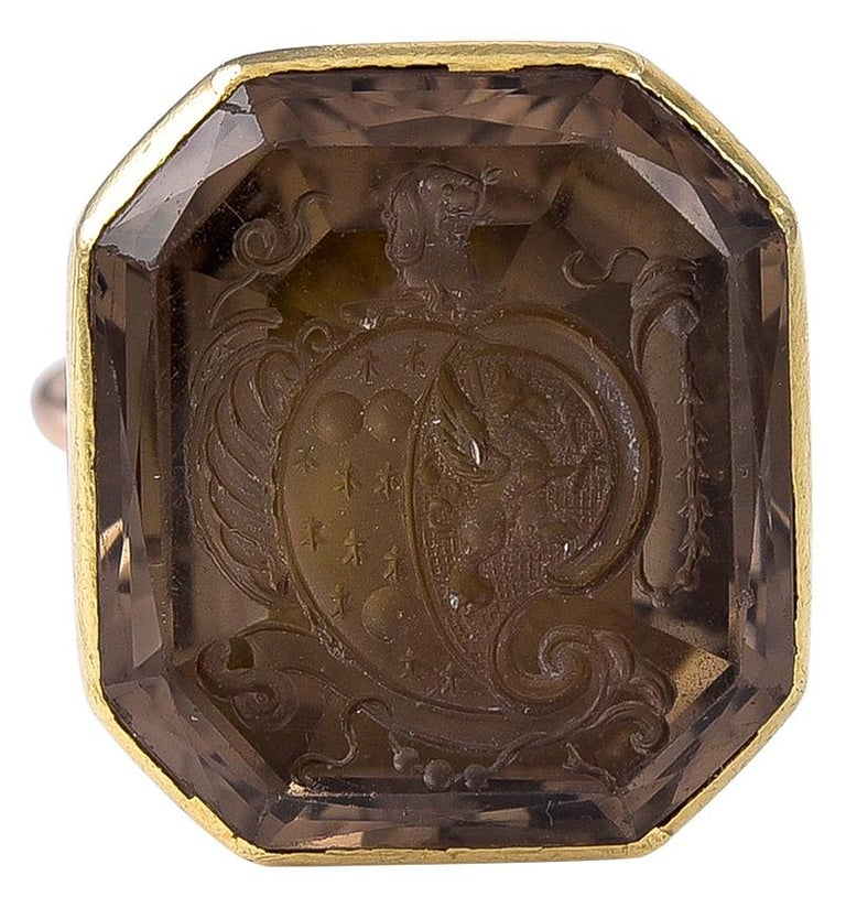 Antique Georgian 18 Karat Gold and Smokey Quartz Intaglio Fob Seal