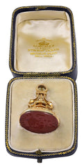 Antique Victorian 18 Karat Gold and Carnelian Intaglio Fob Seal