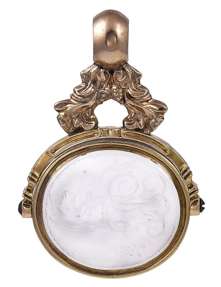 Antique Victorian 18 Karat Gold and White Agate Intaglio Swivel Fob Seal