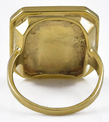 Antique Japanese Shakudo Plaque in a Later European Gold Ring Mount