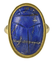 Antique 18 Karat Gold and Lapis Lazuli Scarab Ring