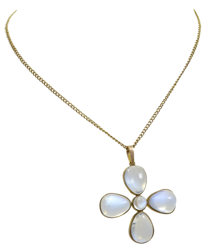 A Five Stone Gold & Moonstone Cross Pendant